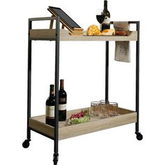 Whether you were inspired by the classic cocktails featured in Mad Men, or you want to try out recipes from a modern mixologist book, this lovely bar cart is a must-have for your home. Blending contemporary elegance with rustic charm, this design is brimming with modern farmhouse appeal. The clean-lined metal frame with a black finish adds a touch of midcentury flair to this design, while the wood shelves with grain details adds farmhouse flair. This cart also features castered feet, so you…