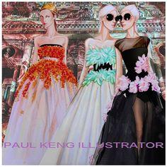Giambattista Valli Fall 2015 Couture | Illustration by Paul Keng