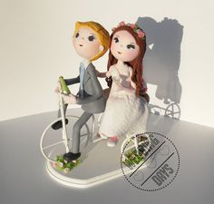 Bicycle wedding cake topper handmade original by WeddingDaysShop, $150.00