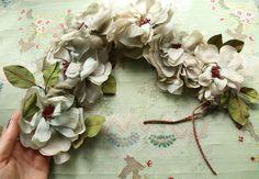 "Gorgeous 22""  antique Vintage millinery wreath silk roses gray blue green chiffon cloth flower piece weddings soft shades green"