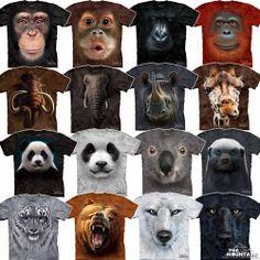 Big Animal Face T Shirt Wild Animals Leopard Wolf Gorilla Elephant Bear Faces | eBay