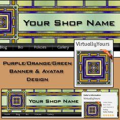 Purple Green and Orange Banner and Avatar Design | VirtuallyYours - Graphics on ArtFire