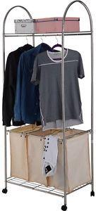 3-Bag-Rolling-Laundry-Cart-Sorter-Hamper-Washing-Clothes-Bin-Storage-Basket-Rack