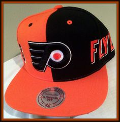 PHILADELPHIA FLYERS MITCHELL AND NESS SPLIT COLOR ADULT SNAPBACK CAP FREE SHIP #MitchellNess #PhiladelphiaFlyers