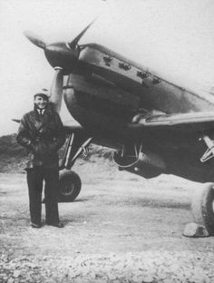 The pilot of French air force Lieutenant Utter from his fighter Moran-Solgne MS.406C at the airport Tong. Lieutenant Utter the only French pilot, shot down, first by the Germans in 1940, and then by the Japanese in Tonkin.