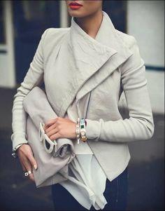 Gray jacket + gray bag