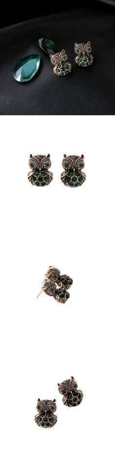 Animal Design Green Owl Earring 2017 New Fashion Bijoux Ear Piercing Women Stud Earring Vintage Jewelry