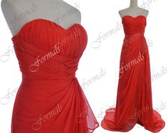 Red Prom Dresses, 2014 Prom Gown, Strapless Long Chiffon Prom Dresses with High Slit, Formal Gown, Red Evening Gown, Long Prom Dress on Etsy, $139.00