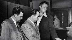 """Mickey Cohen, center, with Harold """"Happy"""" Meltzer, left, and wiretapper Jim Vaus, May 1949. LA Times."""