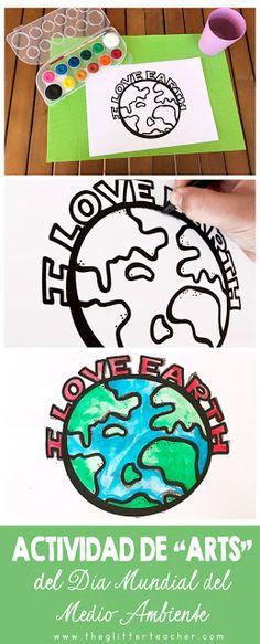 Actividad de educación artística en inglés para celebrar el Día Mundial del Medio Ambiente, con recurso imprimible.