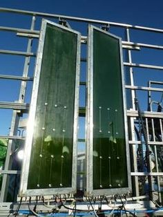 """""""Algae-powered"""" building opens in Germany By Donna Taylor April 17, 2013 Within glass louvers, tiny Micro-algae plants are continuously supplied with liquid nutrie..."""