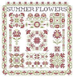 "SUMMER FLOWERS Design Area: 16, 07""W x 17, 00""H 221 x 234 stitches Cross Stitch - Backstitch Archivo PDF vía email $15.00USD o 11€ http://aquarellebyangiedesigner.blogspot.com.ar/"