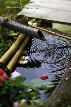 Japanese garden - hand washing basin - chōzubachi - 手水鉢