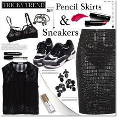 Tricky Trend: Pencil Skirts & Sneakers by asteroid467 on Polyvore featuring polyvore, fashion, style, Zara, Moschino Cheap & Chic, Hanky Panky, Bobbi Brown Cosmetics, Forever 21, Charlotte Tilbury and vintage