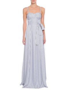 Vestido Longo Listrado Faixa - Iorane - Azul e Off White  - Shop2gether