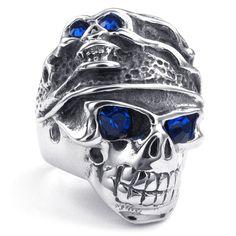 Biker Blue CZ Eye Silver Tone SKULL / DEATH s Head Stainless Steel Men Ring
