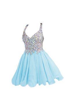 Light Sky Blue Beaded V-neck Homecoming Dresses