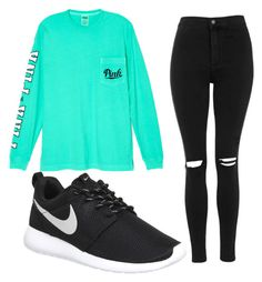 """""""So cute sporty stroll xx"""" by aaliyahp12321 ❤ liked on Polyvore featuring Victoria's Secret, Topshop and NIKE"""