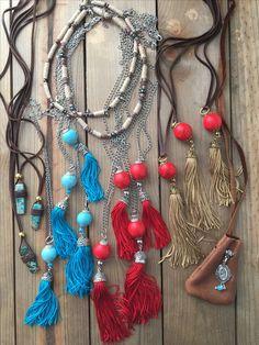Boho style jewelry tassel necklaces. #tasselnecklace