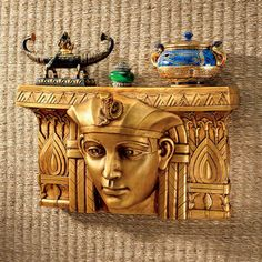 "©""Pharaoh Rameses I Egyptian Ruler"" Wall Sculpture. 18½""Wx7""Dx11""H. 9 lbs..   $89.95"