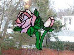 Stained Glass Rose and bud