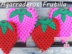 Agarradera Frutilla Crochet - Paso a paso - YouTube