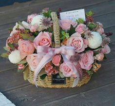 Beautiful basket of flowers Basket Flower Arrangements, Silk Arrangements, Beautiful Flower Arrangements, Love Flowers, Silk Flowers, Beautiful Flowers, Flower Basket, Flower Boxes, Valentines Flowers