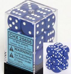 Chessex Dice d6 Sets: Opaque Blue wit... $2.32