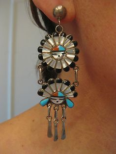HUGE-3-1-4-24-GRAM-RARE-vintage-ZUNI-TURQUOISE-SUN-FACE-INLAY-STERLING-EARRINGS