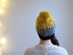 Chunky Pompom Beanie. Hand knitted slouchy hat. Pompom by OkBee