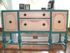 town and prairie: A Turquoise and white Buffet