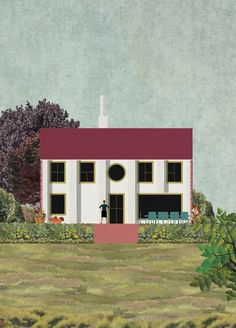 These characterful illustrations show a house designed by Charles Holland Architects for Kent, England, with exaggerated features including an extra-long roof and mismatched windows. Architecture Visualization, Architecture Drawings, Contemporary Architecture, Architecture Illustrations, House Illustration, Collage Illustration, Architects Journal, House Viewing, Beautiful Sites