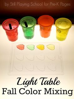 exploring fall colors at the light table with preschoolers