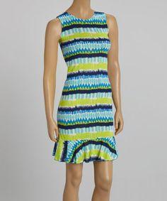 Look at this #zulilyfind! Green & Blue Abstract Stripe Ruffle Hem Dress #zulilyfinds