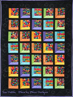 A cute kids quilt. Single bed size: 58 x x 196 cm) A simple block with bright kids prints in the window pane. Machine pieced, machine quilted a. The Enchanted WindowThe Attic Window patterns would be great for an ISpy quilt: 'The Enchanted Window' by 3d Quilts, Panel Quilts, Baby Quilts, Quilt Blocks, Quilting Designs, Quilting Projects, Quilting Ideas, Attic Window Quilts, I Spy Quilt
