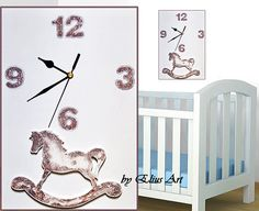 Wooden wall clock white & brown wall by SweetChildhood on Etsy