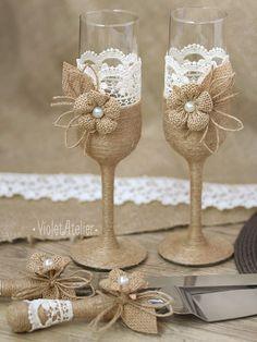Rustic Wedding Set Burlap Lace Toasting Flutes & by VioletAtelier