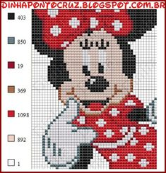 Discover thousands of images about Minnie em Ponto Cruz Mickey Mouse Characters, Mickey Mouse And Friends, Mickey Minnie Mouse, Cross Stitch Baby, Cross Stitch Charts, Cross Stitch Patterns, Disney Stitch, Fair Isle Chart, Disney Canvas