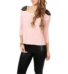Peach Spike Shoulder Dolman Sweater