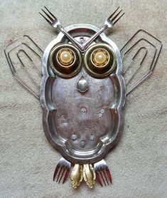 Garden Owl, Garden Deco, Diy Projects To Try, Crafts To Make, Arts And Crafts, Metal Garden Art, Metal Art, Dollar Store Crafts, Dollar Stores