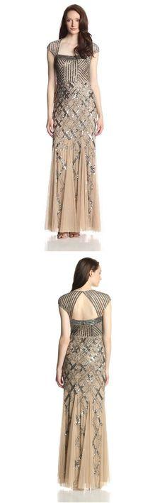 <3 Adrianna Papell <3 Cap-Sleeve Beaded Gown #adriannapapell #dress #gown #beaded #capsleeve #ball #event #glamorous #20s #30s #40s #gatsby #geometric #evening #artdeco