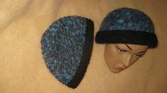 Mütze Beanie Boshi Schurwolle Blau Schwarz von Elbengard auf Etsy