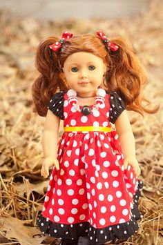 This Minnie Mouse necklace is made specifically to fit your childs American Girl Doll. This doll sized accessory is patterned after our Big