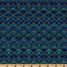 Plume Diamonds Black/Blue from @fabricdotcom  From Timeless Treasures, this cotton print fabric is perfect for quilts, home décor accents, craft projects and apparel. Colors include black, jade, blue and metallic gold accents.