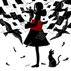 girl in a swirl of written pages & black crows with a red book under her arm & a black cat nearby