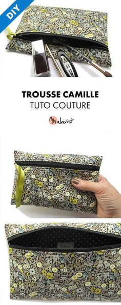 Camille zipped kit tutorial, stitching or make-up kit for beginners - caro karolyne - - Tutoriel de la trousse zippée Camille, trousse couture ou maquillage pour débutante Tuto Couture PDF - Camille Kit via Makerist. Sewing Kit, Sewing Hacks, Sewing Projects, Coin Couture, Couture Sewing, Do It Yourself Mode, Elsbeth Und Ich, Diy Pochette, Makeup Kit