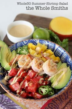Whole30 Summer Shrimp Salad from the Whole Smiths. The PERFECT Whole30 salad for summer. Will make this over and over again. PIN it for later. #whole30 #paleo #healthy
