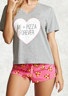 Forever 21 Me + Pizza Forever PJ Set Found on my new favorite app Dote Shopping Cute Pajama Sets, Cute Pjs, Cute Pajamas, Pj Sets, Forever 21 Pajamas, Pyjamas, Ropa Interior Babydoll, Womens Pjs, Fashion Clothes