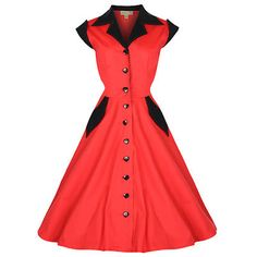 Jeanette rood- vintage, 50's, rockabilly, retro jurk