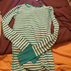 Striped long sleeve shirt Electric blue and white stripes long sleeve shirt American Eagle Outfitters Tops